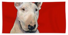 Bull Terrier On Red Beach Sheet
