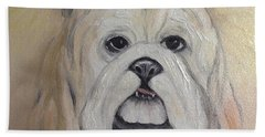 Beach Towel featuring the painting Bulldog by Karen Zuk Rosenblatt