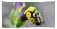 Beach Towel featuring the photograph Bumble Bee Making A Wish by Penny Meyers