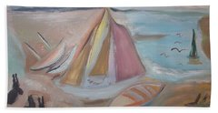 Beach Towel featuring the painting Bunnies At Hoyle Lake by Judith Desrosiers