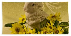 Beach Towel featuring the photograph Bunny And Daisies  by Sandra Foster