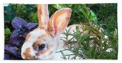 Beach Towel featuring the digital art Bunny In The Herb Garden by Jane Schnetlage