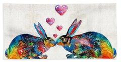 Bunny Rabbit Art - Hopped Up On Love - By Sharon Cummings Beach Sheet by Sharon Cummings
