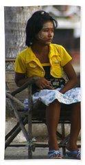 Burmese Girl With Traditional Thanaka Face Painting Sitting On Chair Yangon Myanmar Beach Towel