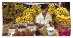 Burmese Lady Selling Colourful Fresh Fruit Zay Cho Street Market 27th Street Mandalay Burma Beach Sheet