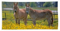 Burros In The Buttercups Beach Sheet by Suzanne Stout