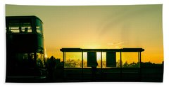 Bus Stop At Sunset Beach Towel