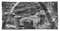 Busch Stadium Bw A View From The Arch Merged Image Beach Towel