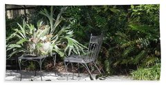 Bust In A Garden With Staghorn Fern Beach Towel by Patricia Greer