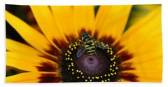Beach Towel featuring the photograph Busy Bee by Denyse Duhaime