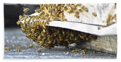 Beach Towel featuring the painting Busy Bees by Laura Forde