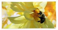 Busy Bumble Bee Beach Towel by Judy Palkimas