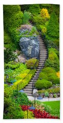 Butchart Gardens Stairs Beach Towel