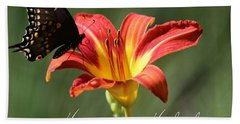 Butterfly And Lily Holiday Card Beach Towel