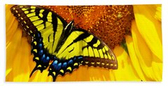 Butterfly And The Sunflower Beach Towel