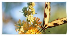 Beach Towel featuring the photograph Butterfly At Work by Trina  Ansel