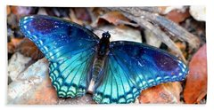 Beach Towel featuring the photograph Butterfly Blue  by Deena Stoddard