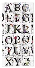 Beach Sheet featuring the mixed media Butterfly Flower Alphabet by Stanza Widen