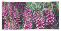 Beach Towel featuring the photograph Butterfly Garden Purple White Flowers Painted Wall by Navin Joshi