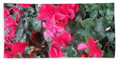 Beach Towel featuring the photograph Butterfly Garden Red Exotic Flowers Las Vegas by Navin Joshi