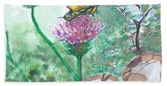 Butterfly On Flower  Beach Sheet
