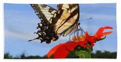 Butterfly On Red Daisy Beach Sheet