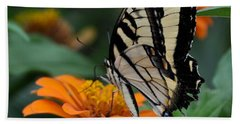 Butterfly On Zinnia Beach Sheet