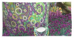 Beach Towel featuring the photograph Butterfly Park Garden Painted Green Theme by Navin Joshi