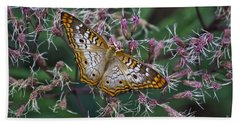 Beach Towel featuring the photograph Butterfly Soft Landing by Thomas Woolworth