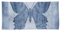 Butterfly Textures Cyanotype Beach Towel