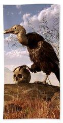 Buzzard With A Skull Beach Towel by Daniel Eskridge