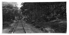Bw Railroad Track To Somewhere Beach Towel