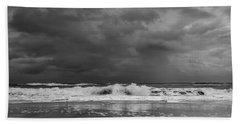 Bw Stormy Seascape Beach Towel