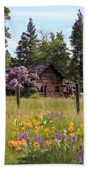 Beach Towel featuring the photograph Cabin And Wildflowers by Athena Mckinzie