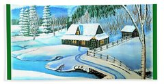 Cabin Fever At Christmastime Beach Towel by Kimberlee Baxter
