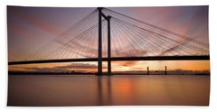 Beach Towel featuring the photograph Cable Bridge by Ronda Kimbrow