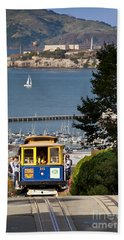 Beach Towel featuring the photograph San Francisco Cable Car On Hyde Street Print By Brian Jannsen Photography by Brian Jannsen