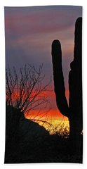 Cactus At Sunset Beach Towel