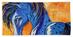Beach Sheet featuring the painting Cadet The Blue Horse by Janice Rae Pariza