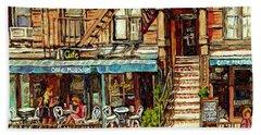 Cafe Mogador Moroccan Mediterranean Cuisine New York Paintings East Village Storefronts Street Scene Beach Sheet