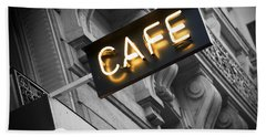 Cafe Sign Beach Towel by Chevy Fleet