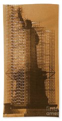 Beach Sheet featuring the photograph Lady Liberty Statue Of Liberty Caged Freedom by Michael Hoard