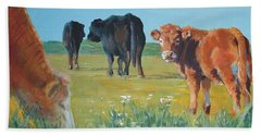 Calf Painting Beach Sheet
