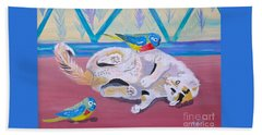 Beach Sheet featuring the painting Calico And Friends by Phyllis Kaltenbach