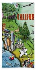 California Cartoon Map Beach Towel