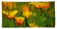 California Poppies Beach Sheet by Deb Halloran