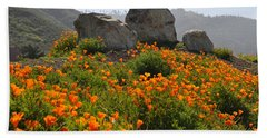 Beach Sheet featuring the photograph California Poppies by Lynn Bauer