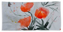 California Poppies Sumi-e Beach Towel