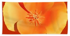 California Poppy Painting Beach Sheet