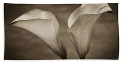 Beach Towel featuring the photograph Calla Lilies In Sepia by Sebastian Musial